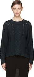 3.1 Phillip Lim Green Cable Knit Sweater