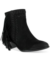 Mia Elina Fringe Ankle Booties Women's Shoes Black