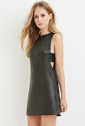 Forever 21 Faux Leather Cutout Dress Black