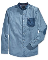 Guess Men's Long Sleeve Dobby Pocket And Patch Shirt Blue Navy