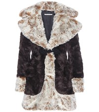 Alessandra Rich Faux Fur Coat Brown