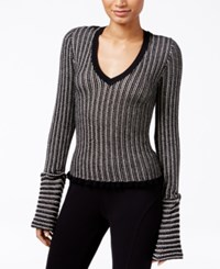 Rachel Roy Striped Lantern Sleeve Sweater Only At Macy's Canvas Black