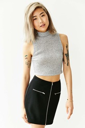 Silence And Noise Silence Noise Front Zip Ribbed Mini Skirt Black