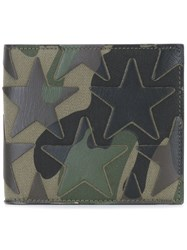 Valentino Camouflage And Star Billfold Wallet Green