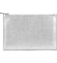Aspinal Of London Essential Saffiano Leather Flat Pouch Silver