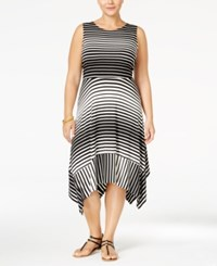Monteau Plus Size Striped Handkerchief Hem Midi Dress Black White