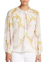 Giambattista Valli Long Sleeve Floral Print Silk Shirt Mauve