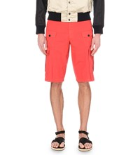 Dries Van Noten Pavo Regular Fit Cotton Cargo Shorts Red