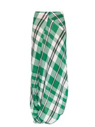 Stella Mccartney Drape Hem Check Print Maxi Skirt Green Multi
