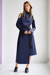 Boutique Funnel Neck Showstopper Dress By Navy Blue