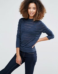 Shae Shadow Stripe Turtleneck Jumper Navy