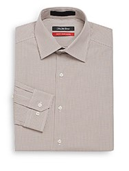 Saks Fifth Avenue Trim Fit Mini Gingham Check Dress Shirt Taupe