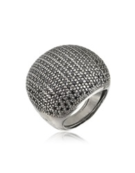 Azhar Large Cubic Zirconia Sterling Silver Cocktail Ring Black