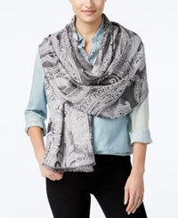 Inc International Concepts Tranquil Scale Jacquard Scarf Only At Macy's Silver