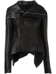 Rick Owens Woven Panel High Low Jacket Black
