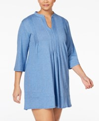 Dkny Plus Size Draped Sleepshirt Heather Blue