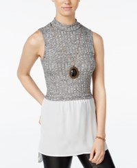 Amy Byer Bcx Juniors' Marled Necklace Layered Look Top Black Tweed