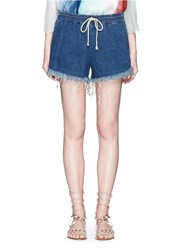 Chloe Acid Wash Frayed Denim Shorts Blue