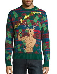 American Stitch Reindeer Ugly Christmas Sweater Red