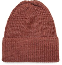 The Workers Club Ribbed Melange Merino Wool Beanie Orange