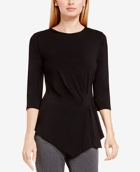 Vince Camuto Side Ruched Asymmetrical Top Rich Black
