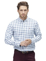 Joules Wilby Check Cotton Shirt Blue Overcheck