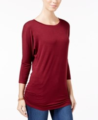 Planet Gold Juniors' Ruched Dolman Sleeve Top Zinfandel