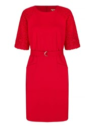 Yumi Belt Dress With Lace Sleeves Red
