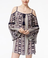 American Rag Printed Crochet Trim Off The Shoulder Shift Dress Only At Macy's Black Combo