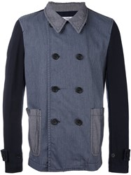 Comme Des Garcons Shirt Double Breasted Blazer Blue