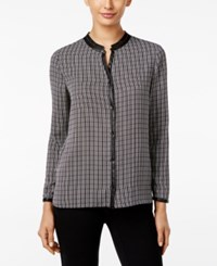 Alfani Printed Faux Leather Trim Blouse Only At Macy's Black