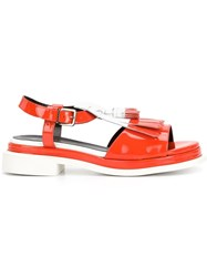 Robert Clergerie Front Fringe Buckle Sandals Red