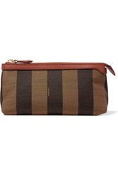 Fendi Leather Trimmed Printed Canvas Cosmetics Case Brown