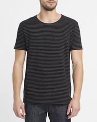 Revolution Black 1828 Dyed Effect Striped T Shirt