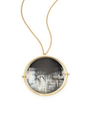 Nest Horn Disc Statement Pendant Necklace Gold Grey