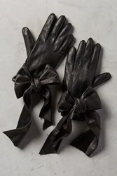 Anthropologie Streaming Bow Leather Gloves Black
