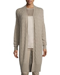 Ralph Lauren Cable Knit Cashmere Long Cardigan Taupe Brown Women's