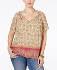Lucky Brand Plus Size V Neck Printed Peasant Top Pink Multi