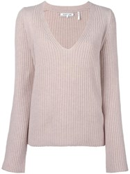 Helmut Lang V Neck Ribbed Jumper Nude Neutrals