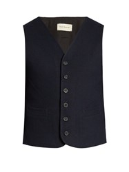 Oliver Spencer Aspley Cotton And Wool Blend Waistcoat Navy