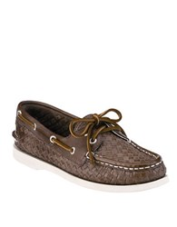 Sperry Authentic Original Woven Leather Boat Shoes Brown