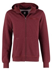 G Star Gstar Core Hooded Zip Sw L S Tracksuit Top Dark Bordeaux Heather Mottled Bordeaux