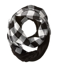 Plush Fleece Lined Plaid Infinity Scarf Black Red Scarves