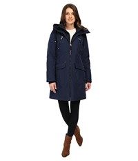 Jessica Simpson Quilted Fill Puffer With Hood And Fleece Bib Navy Women's Coat