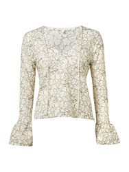 Endless Rose Long Sleeved Lace Detail Blouse Ivory