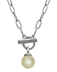 Majorica Simulated Pearl Toggle Necklace 18 Silver
