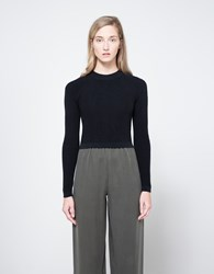 Christophe Lemaire Fitted Rib Sweater In Blue Midnight Blue