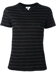 Vince Striped T Shirt Black