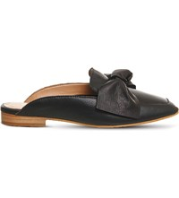 Office Dance Bow Front Leather Mules Black Leather