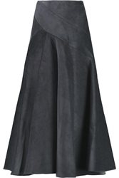 J.W.Anderson Pleated Cotton Corduroy Midi Skirt Gray